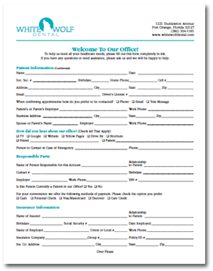 Dental New Patient Call Sheet