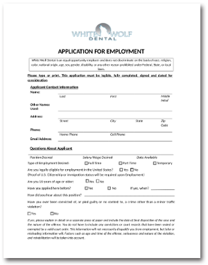 White Wolf Dental Employment Application
