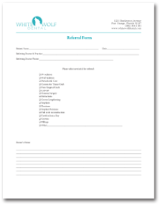 Referral form for White Wolf Dental Group in Port Orange, FL